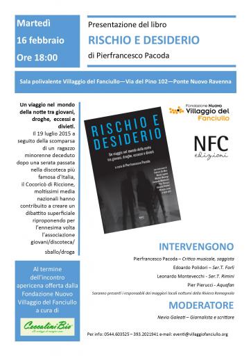 """Locandina Presentazione Libro """"Rischio e desiderio"""""""